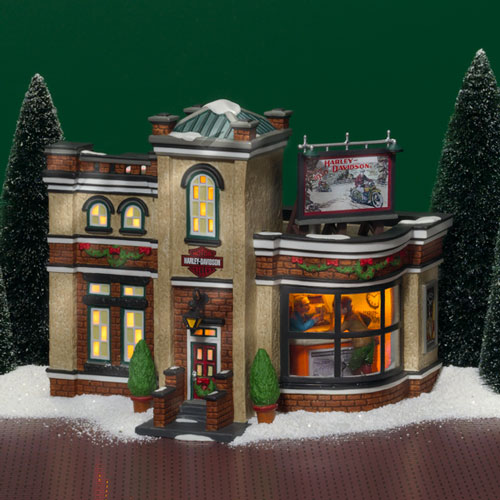 village idiotz department 56 christmas in the city series harley davidson detailing