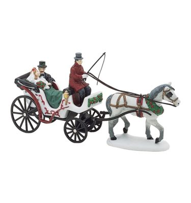 Village Idiotz - Department 56 - Christmas In The City Series - A Carriage Ride For The Bride