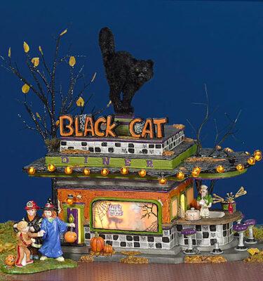 Village-Idiotz-Department-56-55319-The-Original-Snow-Village-Halloween-Series-Black-Cat-Diner